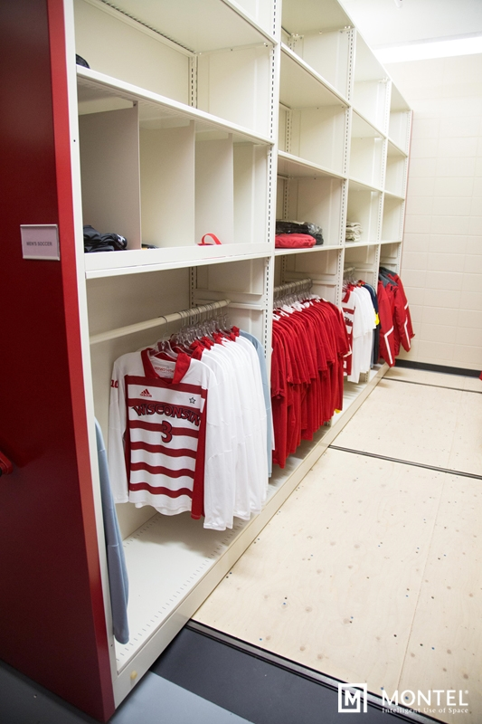 Clothing racks store jerseys and uniforms the way they were intended to be stored.