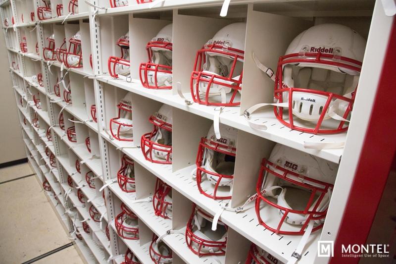 Adjustable helmet bins optimize space and preserve equipment that keeps Badgers safe.