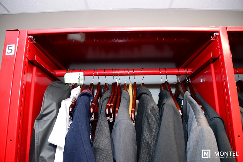 Take off your coat and stay a while with mobile storage with coat rack features.