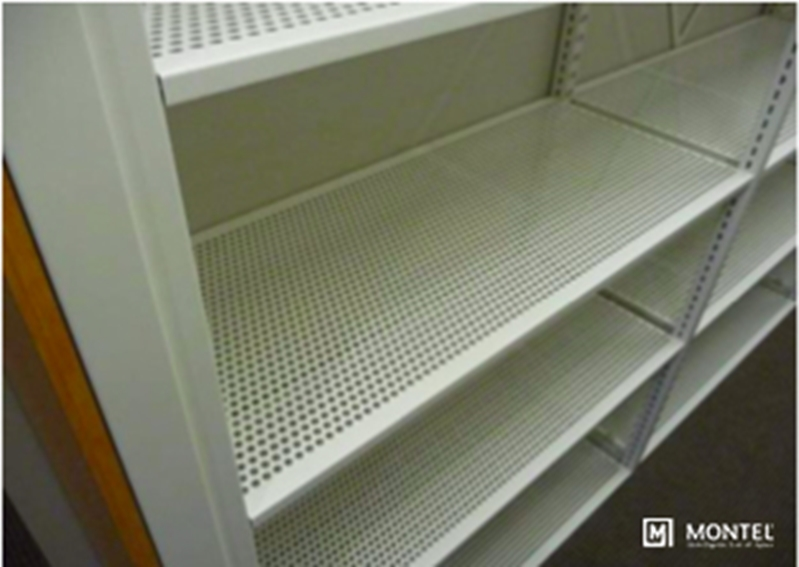 Perforated shelves let turnout gear breathe.